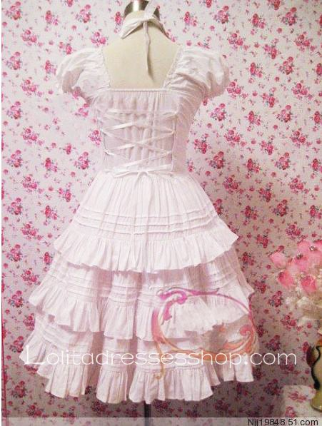 Lolita Pink Cotton Square Neck Short Sleeves Bow Multilayer Sweet Dress