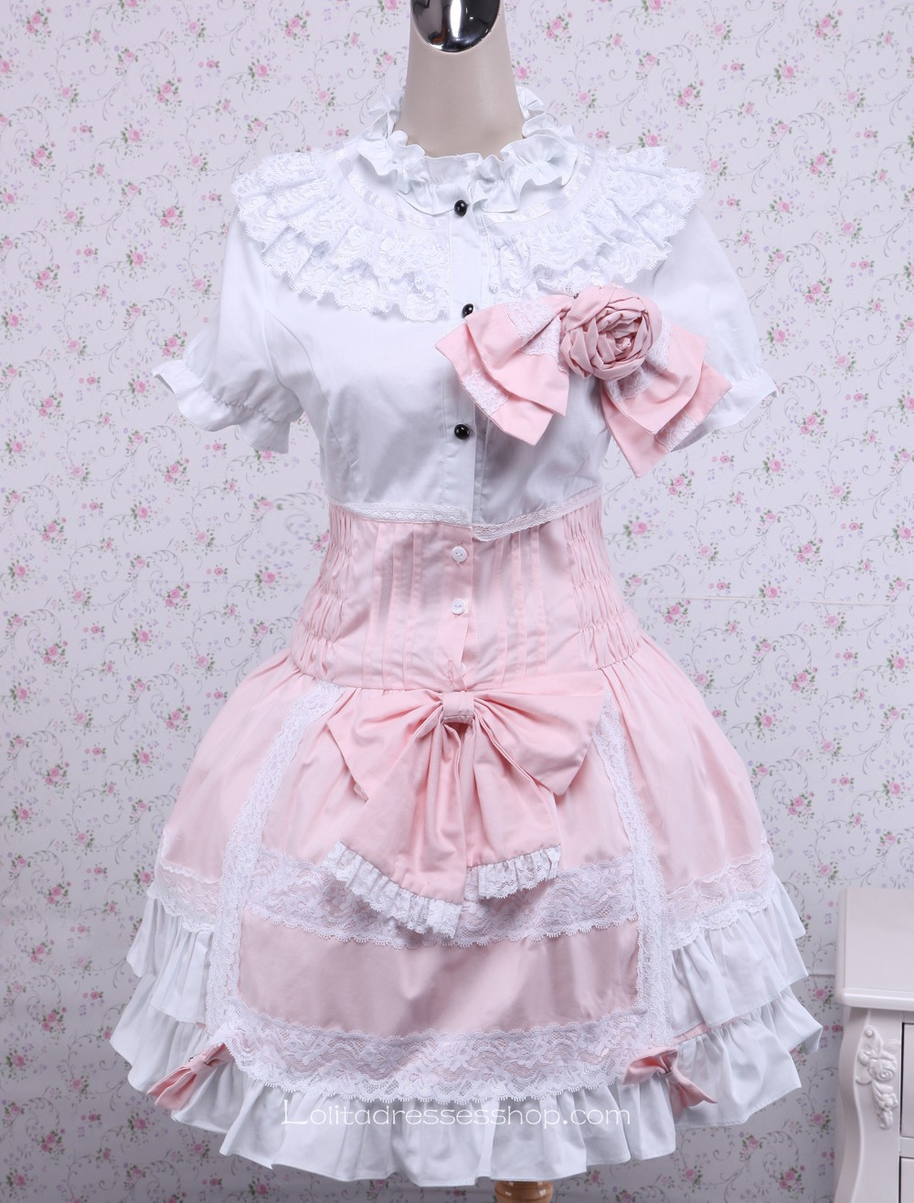 Cheap White and Pink Cotton Doll Collar Short Sleeve Bow Sweet ...