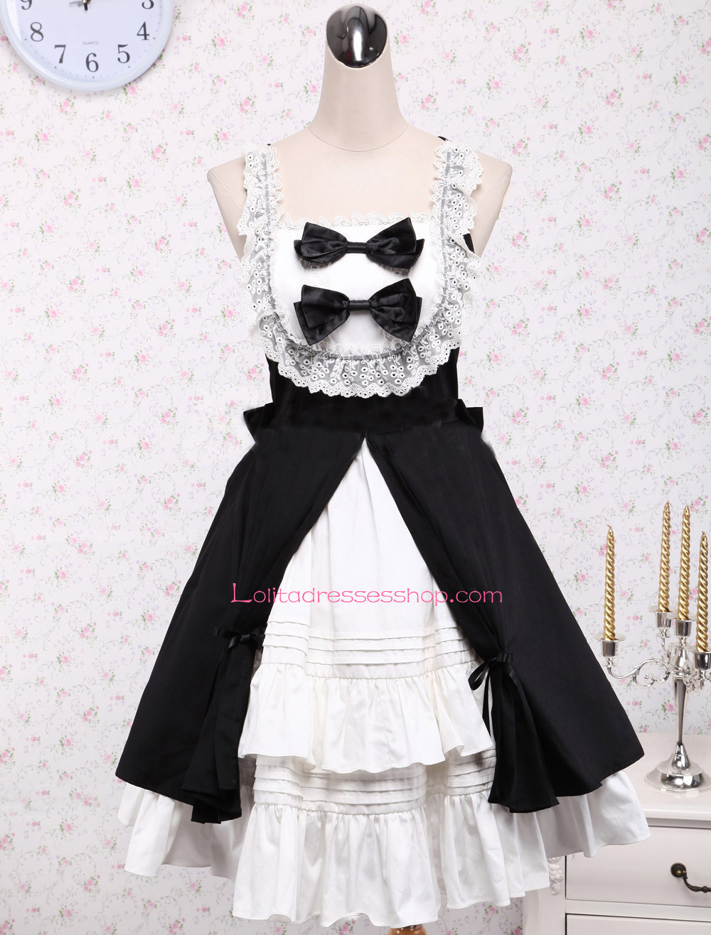 Black strap dress with white bow