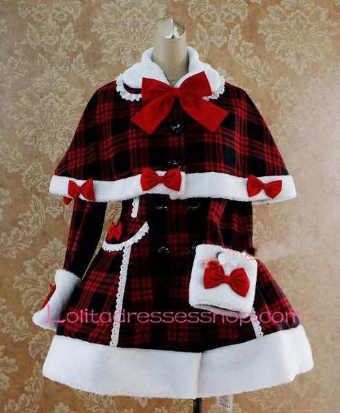 Slim Single-Breasted Black and Red Grid Cap Shoulder Bow Flouncing Lolita Coat