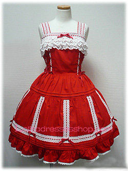 Lace Trim Red Cotton Straps Sleeveless Sweet Lolita Dress