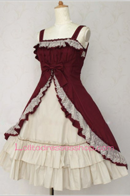 Splicing Dark Red and Light Gray Cotton Straps Sleeveless Sweet Lolita Dress
