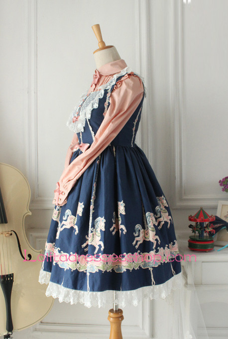 Fairy Tales Princess Blue Cotton Stand Collar Pink Lace Trim Sweet Lolita Dress