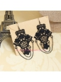 Fashion Hook Flower Black Lace Lolita Earring