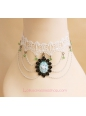 Sweet White Lace Knit Crystal Lolita Necklace