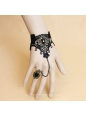 Fashion Black Lace Resin Diamond Ring Lolita Bracelet
