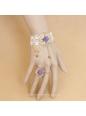 Sweet Girl Metal Butterfly with Purple Flower Ring Lolita Bracelet