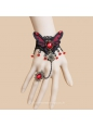 Black Lace Red Butterfly and Crystal Lolita Bracelet