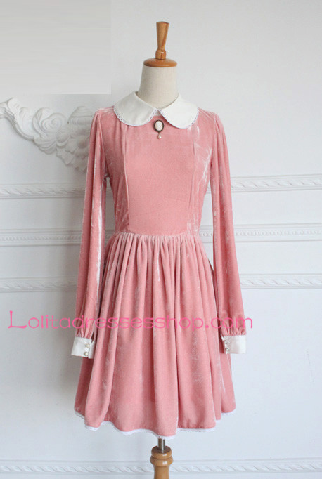 Cheap Painting Girl Vintage Velvet Round Neck Classic Lolita Dress ...