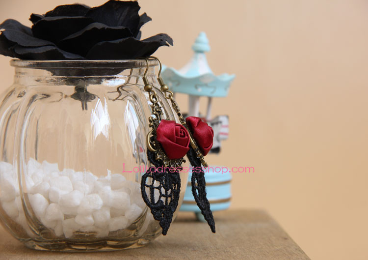 Sweet Black Lace Red Rose Lolita Earring