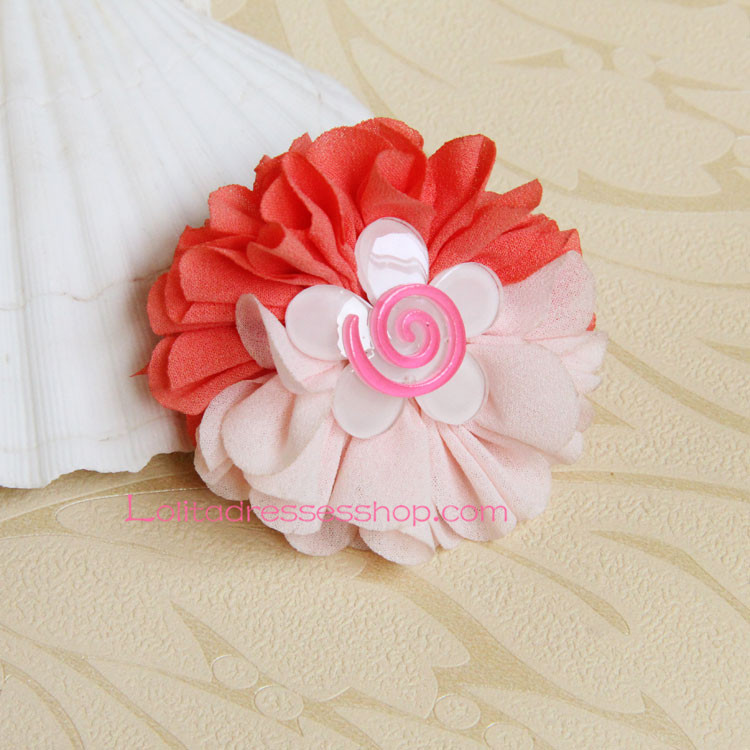 Lolita Headdress Light Pink and Red Sweet Sunflower Hair Rope