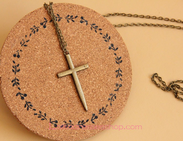 Sacred Bronzed Alloy Crucifix Lolita Sweater Chain