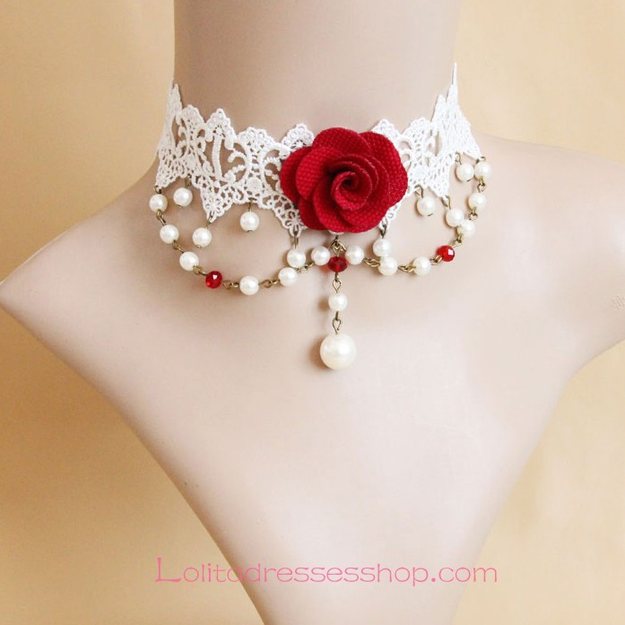 Sweet Bride White Lace Pearls Lolita Necklace