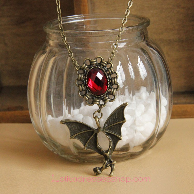 Gothic Bronze Alloy Bat with Red Diamond Lolita Necklace