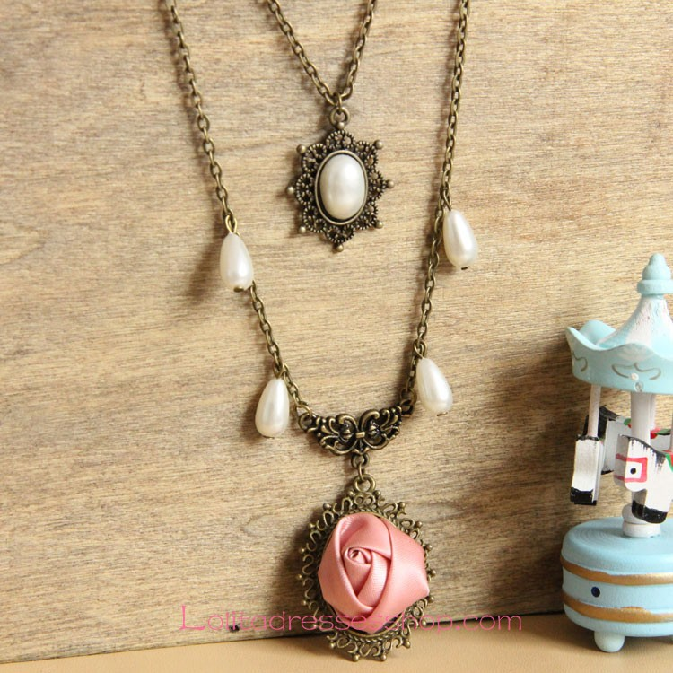 Lolita Bronzed Alloy Pink Rose with Pearls Sweater Chain