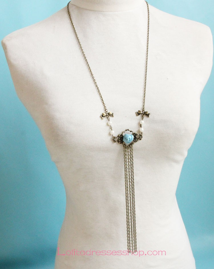 Vintage Bronzed Alloy Green Rose with Pearls Lolita Sweater Chain