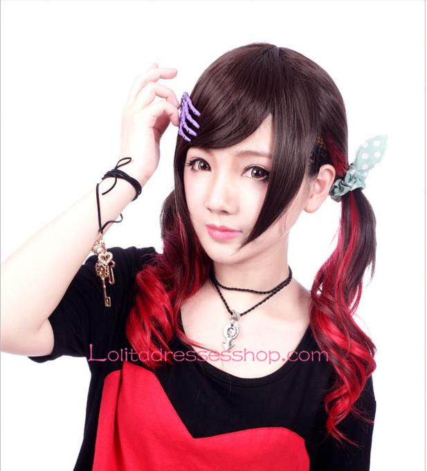 Lolita Black and Red Gradient Maid Cute Cosplay Wig