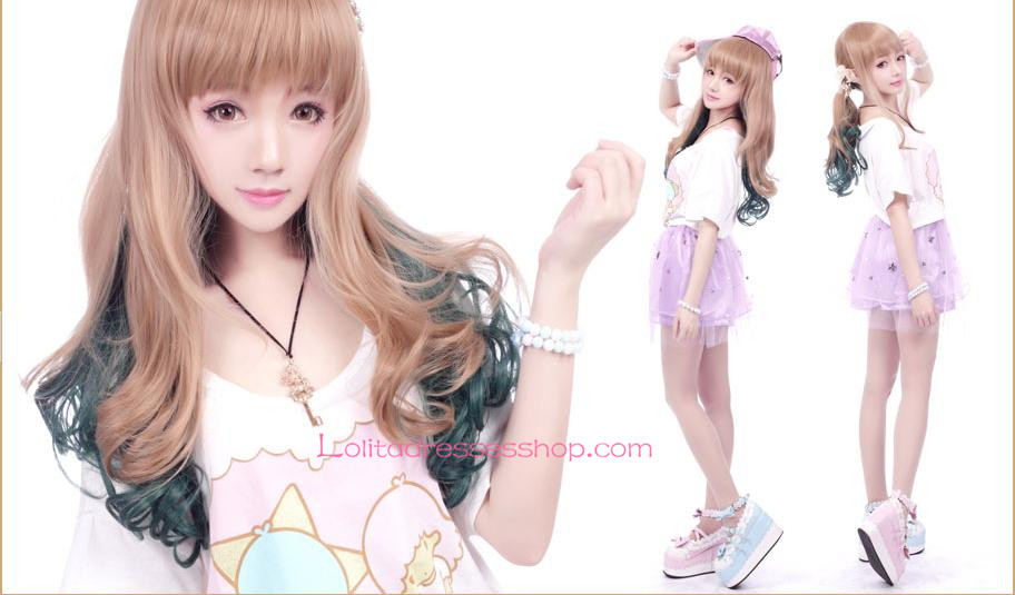 Lolita Gradient Light Brown with Dark Green Maid Cute Cosplay Wig