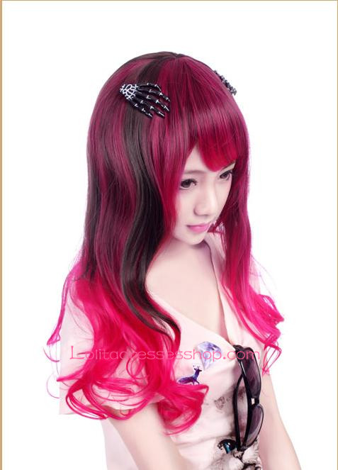 Lolita Red with Black Curled inward Maid Cute Cosplay Wig