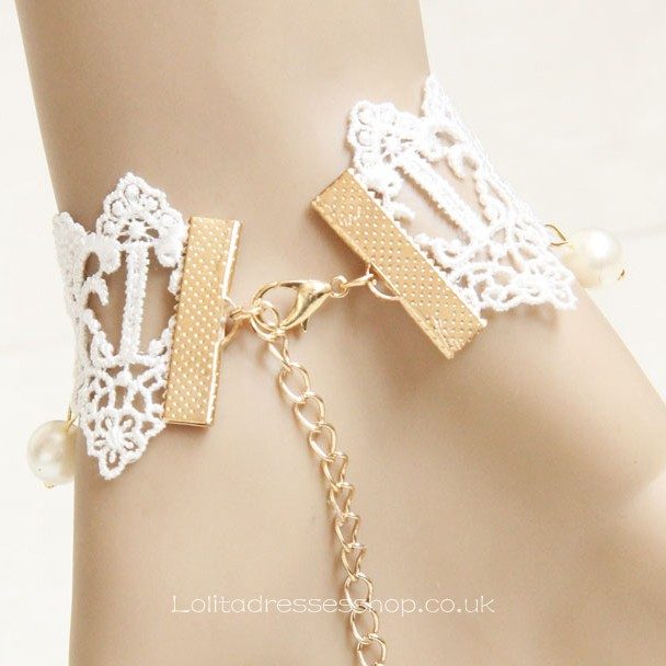 Sweet White Lace Metal Leaf with Chain Lolita Bracelet