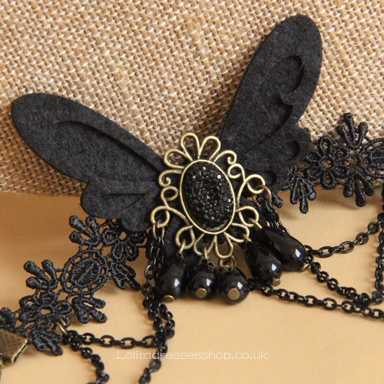 Vintage Black Lace and Metal Chain with Butterfly Lolita Bracelet