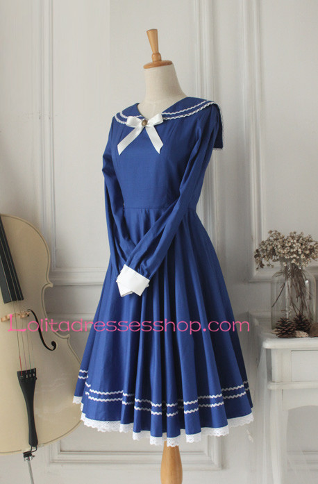 Sweet Dark Blue Cotton Doll Collar Long Sleeves Sailor Lolita Dress