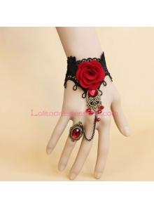 Elegant Black Lace Rose Crystal Lolita Bracelet