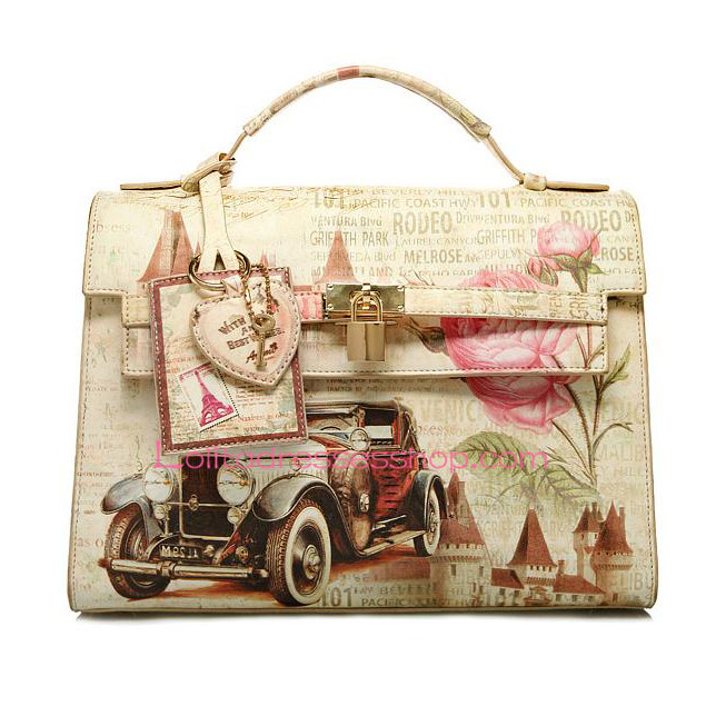 The Arch Printing Vintage Sports Car PU Lolita Handbag