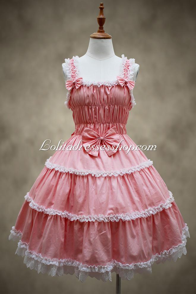 Cheap Pink Cotton Square Neck Sleeveless Bowknot Sweet Lolita ...