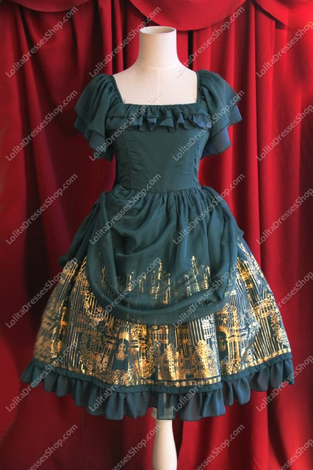 Oil Green Cotton Sweet Square Neck Short Sleeves Flouncing with Floral Lolita Dress
