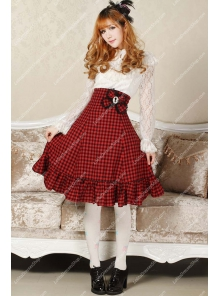 Sweet Red High Waist Lattice with Bowknot Lolita Skirt