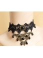 Black Lace with Bronze Accessories Pearls Lolita Necklace