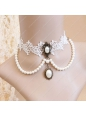 Sweet White Lace Pearls Lolita Necklace