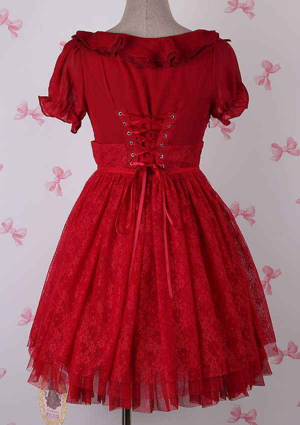 Plain Red Chiffon Round Neck Gauze Fashion Lolita Dress
