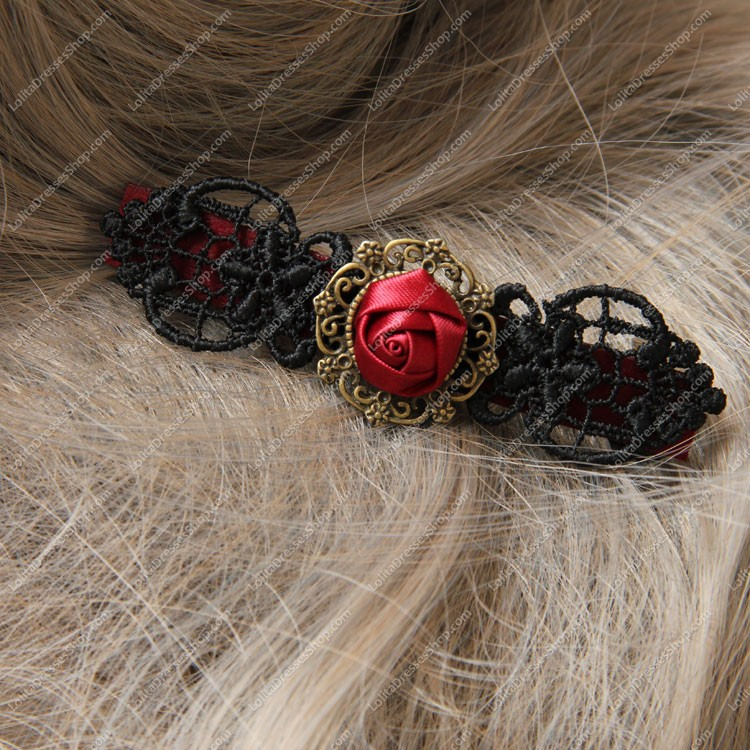 Vampire Black Lace Red Flowers Lolita Headdress Barrette
