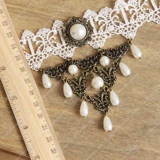 White Lace with Bronze Accessories Pearls Lolita Necklace