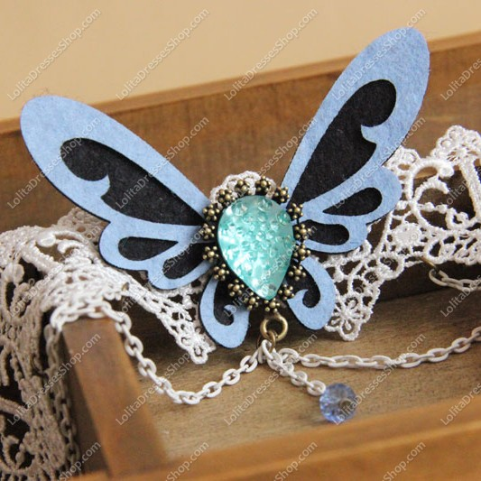 Sweet Blue Butterfly with Tassel Lolita Necklace