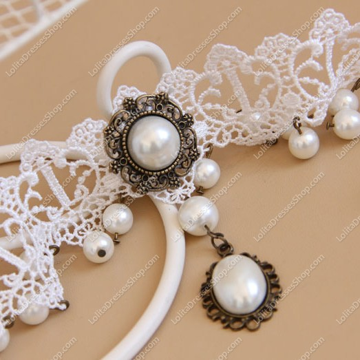 Sweet White Lace Pearls Tassel Lolita Necklace