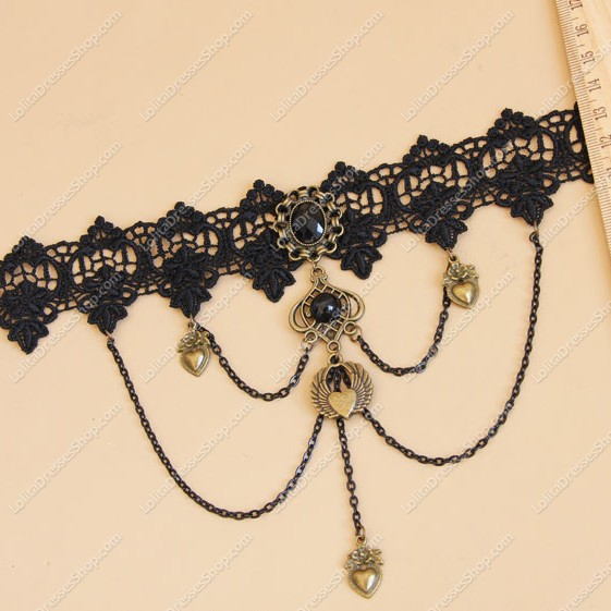 Black Lace Heart and Pearls Lolita Necklace