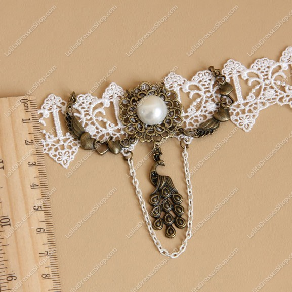 Pearl Peacock White Lace Bridal Gown Fashion Lolita Necklace