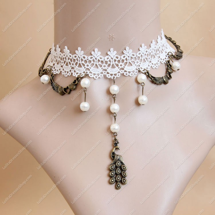 Pearl Weave Peacock White Lace Bridal Gown Fashion Lolita Necklace