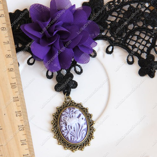 Black Lace Flowers Carving Lolita Necklace