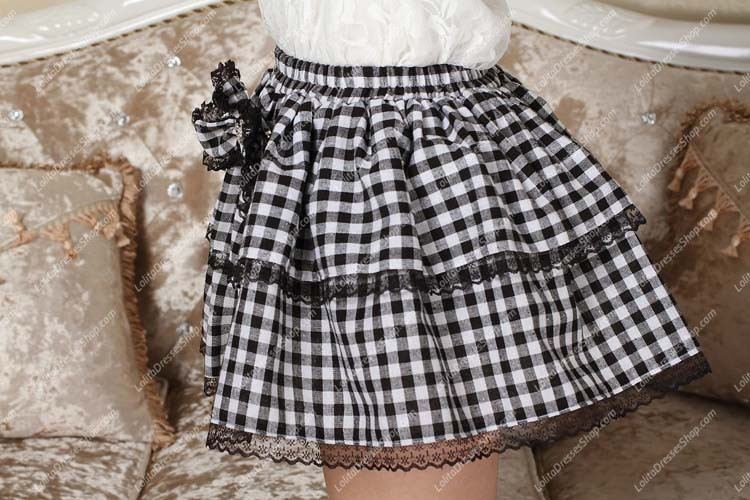 School Style White and Black Bowknot Lolita Skirt