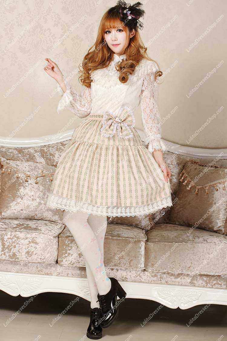 Light Yellow Crown Printed Bowknot Sweet Lolita Skirt