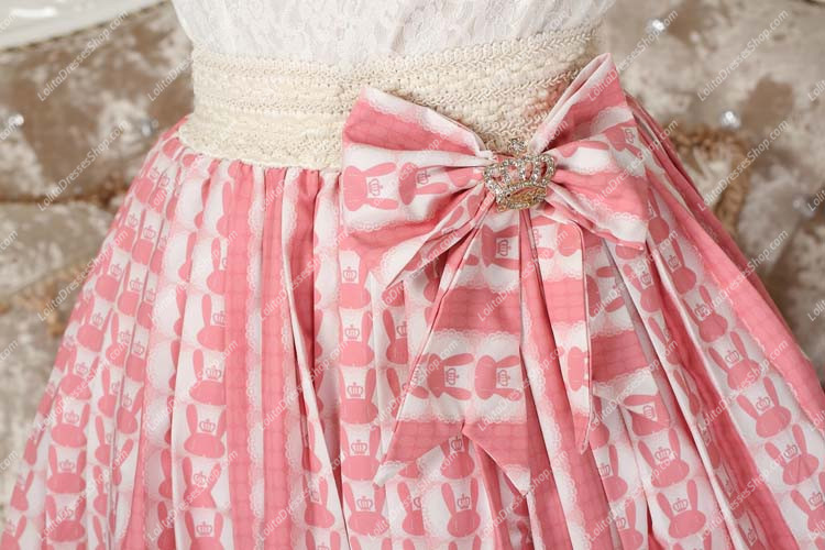 Pink Rabbit Printed Bowknot Sweet Lolita Skirt