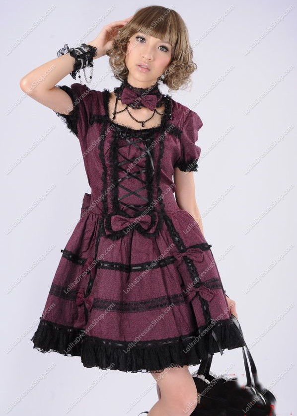 Dark Red Fashion Princess Lace Punk Lolita Dress