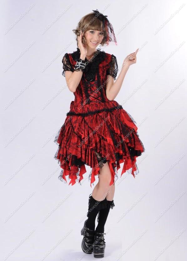 Cheap Gorgeous Black Lace Asymmetric Flounced Princess Punk Lolita Dress  Sale At Lolita Dresses Online Shop 731bf8474358