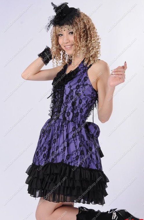 Purple Lace Straps Sleeveless Flouncing Punk Lolita Dress