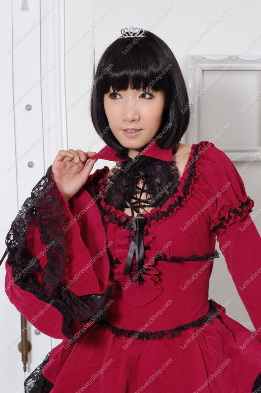 Elegant Red Round Neck Long Sleeves Lace Trim Punk Lolita Dress