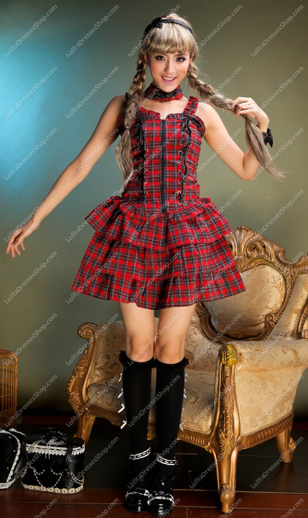 Red and Black Cotton Straps Sleeveless Sets Punk Lolita Dress